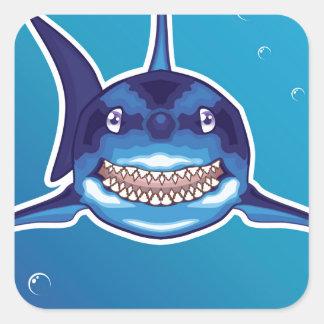 Shark Cartoon Square Sticker