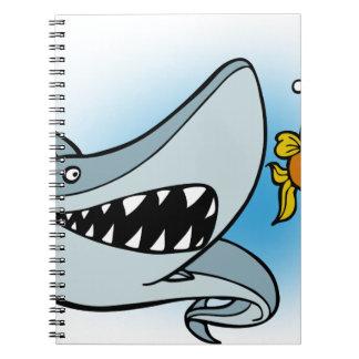 Shark Chasing Fish Cartoon Notebook