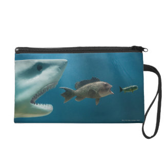 Shark chasing sea bass chasing juvenile wristlet purse