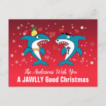Shark Christmas Holiday Postcard
