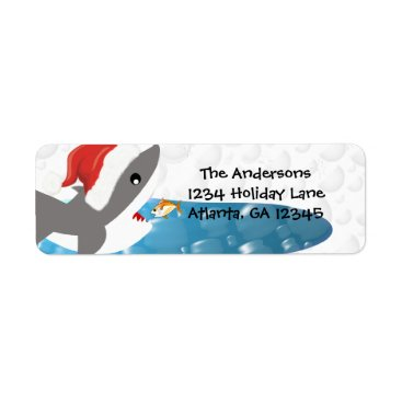 Christmas Themed Shark Christmas Return Address Label