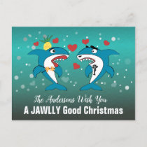 Shark Christmas Typography Holiday Postcard