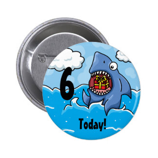 Shark Customisable birthday badge Pinback Buttons