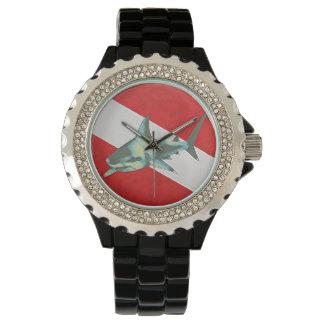 shark dive flag, sportive hour wrist watch