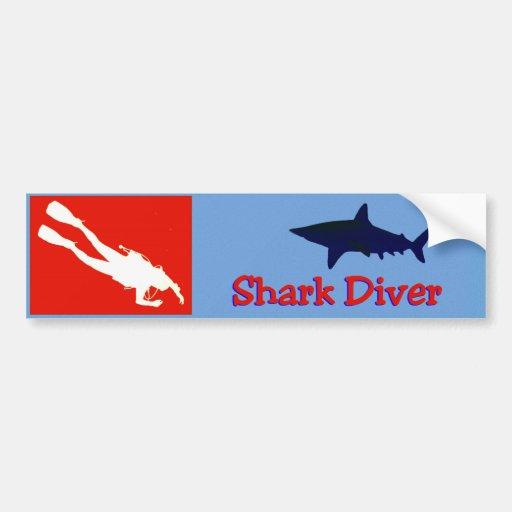 Shark diver bumper sticker