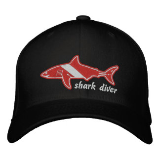 Shark Diver Dive Flag Cap Embroidered Baseball Caps