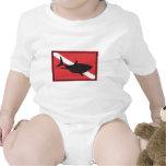 Shark Diving Flag Baby Shirts