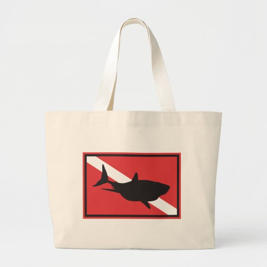 Shark Diving Flag Large Tote Bag
