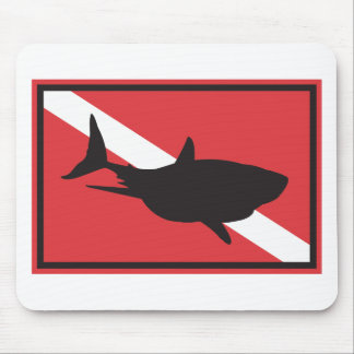 Shark Diving Flag Mouse Pad