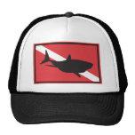 Shark Diving Flag Trucker Hats