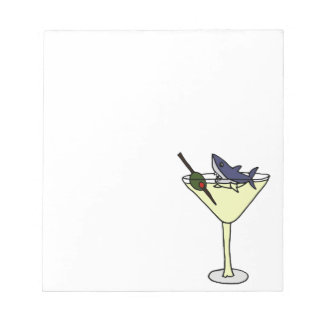 Shark Eating Martini Olive Note Pad