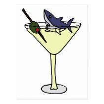 Shark Eating Martini Olive Postcard