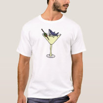Shark Eating Martini Olive T-Shirt