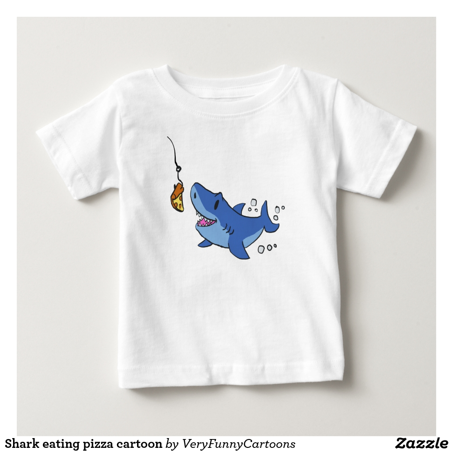 Shark eating pizza cartoon baby T-Shirt - Soft And Comfortable Baby Fashion Shirt Designs