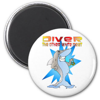 Shark eats Diver 2 Inch Round Magnet