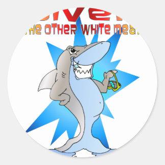 Shark eats Diver Classic Round Sticker