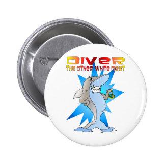 Shark eats Diver Pinback Button