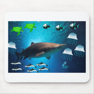 Shark Fish Turtles Dolphins Tropical Ocean Water Mouse Pad