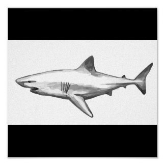 Shark Fish Water Splash Swim Grey Gray Guy Gal Poster