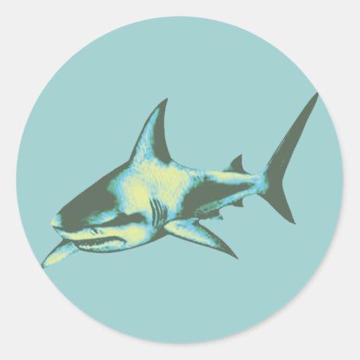 shark fish, wild animals classic round sticker
