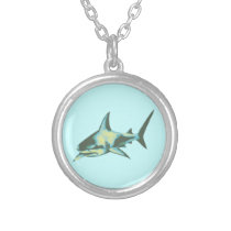 shark fish / wild animals silver plated necklace