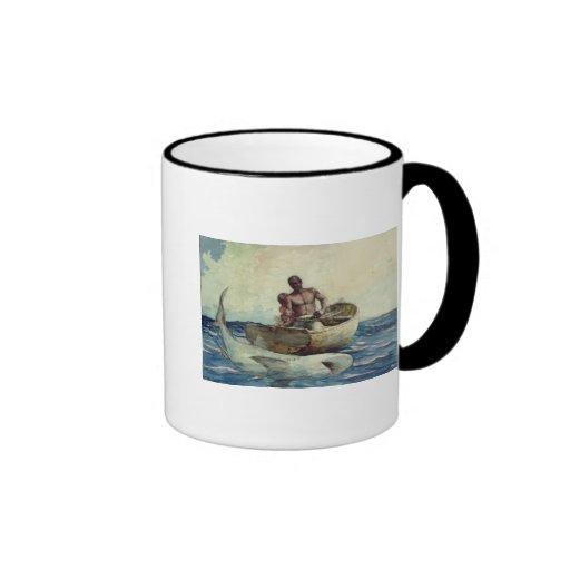 Shark Fishing, 1885 Ringer Mug