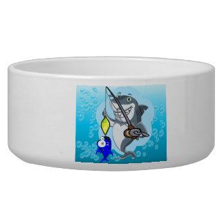 Shark fishing a fish cartoon bowl