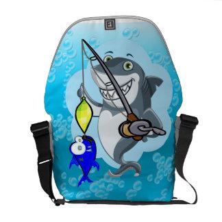 Shark fishing a fish cartoon courier bag