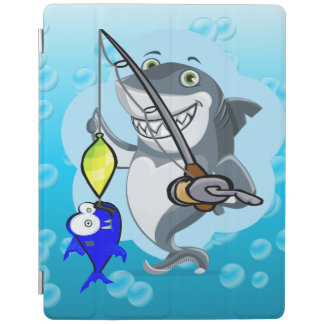 Shark fishing a fish cartoon iPad smart cover