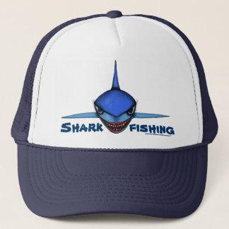 Shark fishing cartoon art cool hat design