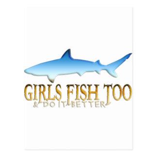 SHARK FISHING GIRL POSTCARD