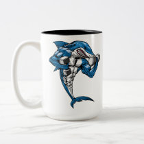 Shark Fitness Weightlifting Two-Tone Coffee Mug