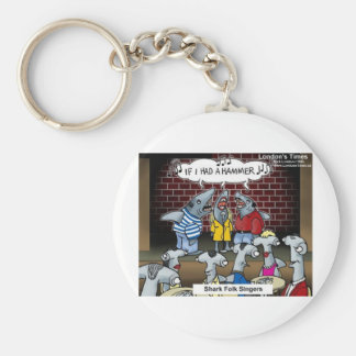 Shark Folk Singers Funny Gifts Tees & Cards Basic Round Button Keychain