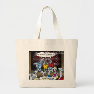 Shark Folk Singers Funny Gifts Tees & Cards Large Tote Bag