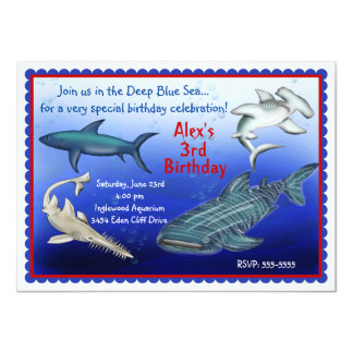 Shark Frenzy Birthday Invitations