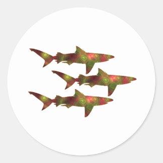 Shark Frenzy Classic Round Sticker