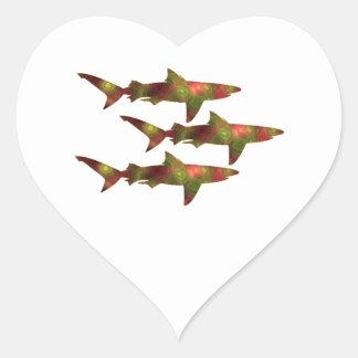Shark Frenzy Heart Sticker