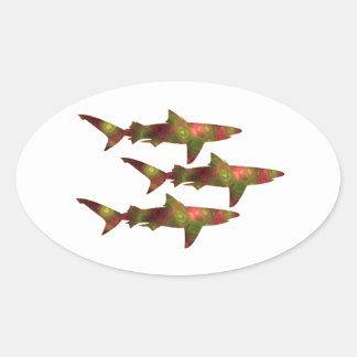 Shark Frenzy Oval Sticker