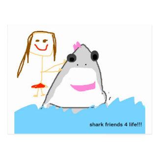 shark friends post card
