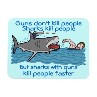 Shark Funny Gun Control Humorous Cartoon Rectangular Photo Magnet