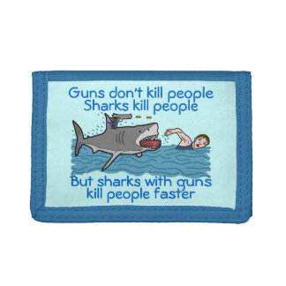 Shark Funny Gun Control Humorous Cartoon Trifold Wallets