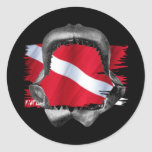 Shark Gear by Divers Den Round Stickers