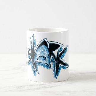 shark graphic text illustration blue tint coffee mug