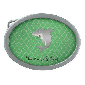 Shark green dragon scales oval belt buckles