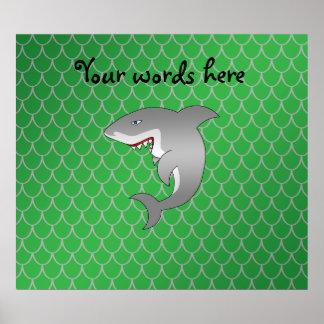 Shark green dragon scales print