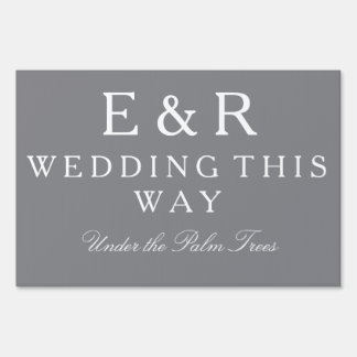 Shark Grey with White Wedding Detail Lawn Sign