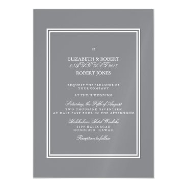 Beach Themed Shark Grey with White Wedding Detail Magnetic Card