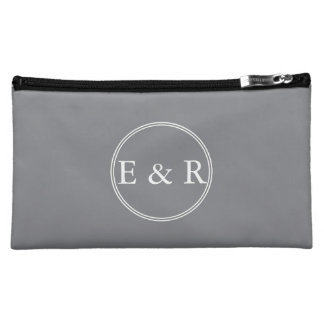 Shark Grey with White Wedding Detail Makeup Bag