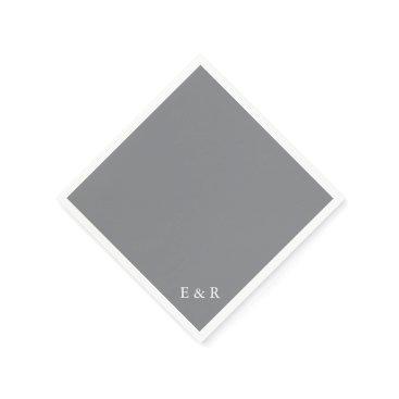 Beach Themed Shark Grey with White Wedding Detail Paper Napkin