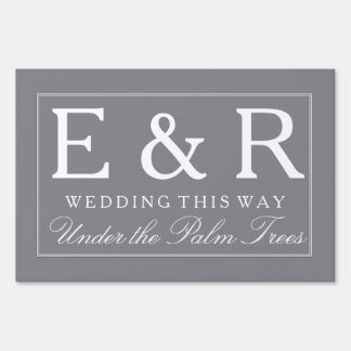 Shark Grey with White Wedding Detail Yard Sign